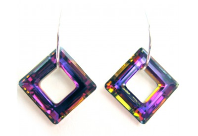 swarovski cosmic ring square earrings - volcano