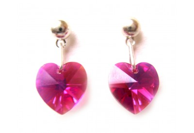 swarovski heart earrings - fuchsia