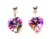 swarovski heart earrings - vitrail light (rich amethyst)