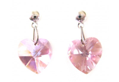 swarovski heart earrings - light amethyst