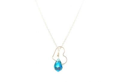 floating heart necklace - blue zircon (turquoise)