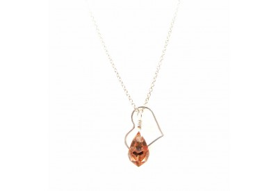 floating heart necklace - capri gold (bronze)