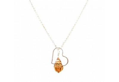 floating heart necklace - light colorado topaz (amber)
