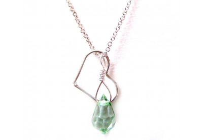 floating heart necklace - light green