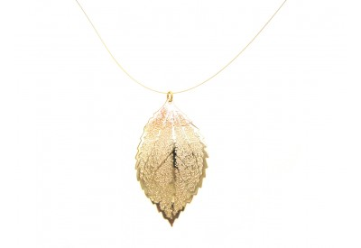 filigree leaf pendant - solid gold
