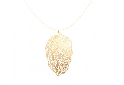 filigree leaf pendant - lacy gold