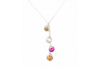 holly necklace - amber, fuchsia, taupe, turquoise pearls