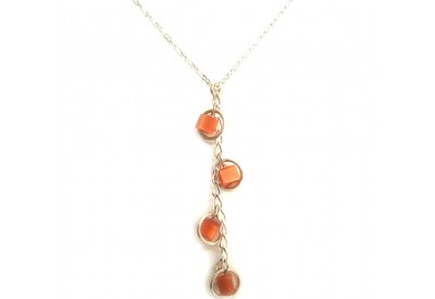 holly necklace - tangerine cat's eye