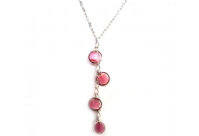 holly necklace - pink square cat's eye