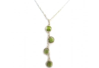 holly necklace - lime green cat's eye