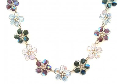 in bloom choker - winter mix - blue & violet crystal