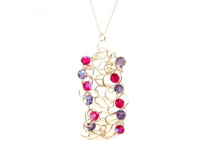 knit wire pendant - fuchsia, tanzanite