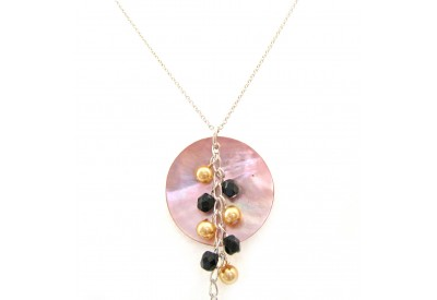 shell pendant - salmon, bronze, black