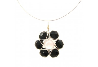 wire wrapped daisy pendant -  black, snow white