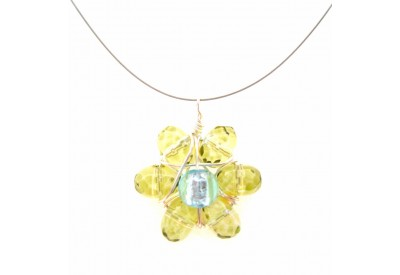 wire wrapped daisy pendant - olivine, powder blue