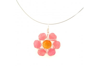wire wrapped daisy pendant - alabaster pink, canary yellow