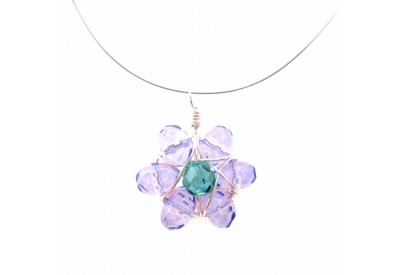 wire wrapped daisy pendant - purple, turquoise