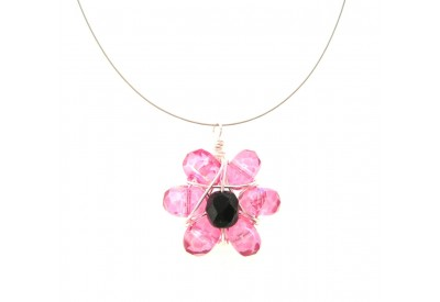 wire wrapped daisy pendant -  pink, jet black
