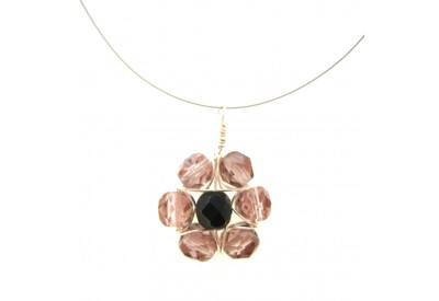 wire wrapped daisy pendant - rosaline, black