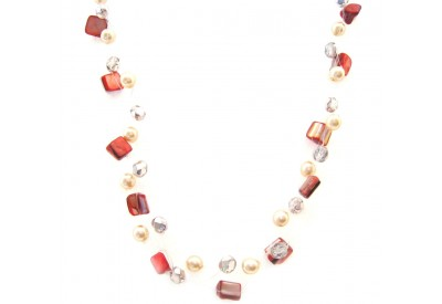 cloudburst necklace - red, pink, ivory