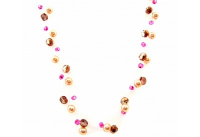 cloudburst necklace- bronze, fucshia, ivory