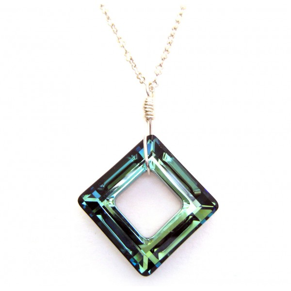 Swarovski cosmic ring square pendant swarovski cosmic ring square crystal pendant bermuda blue mozeypictures Image collections