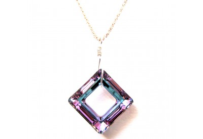 swarovski cosmic square pendant - vitrail light, sterling