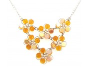 in bloom cluster - amber pressed glass