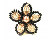 beaded daisy ring - cream, black, ivory