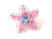 beaded daisy ring - bubble gum, silvery pink, powder blue