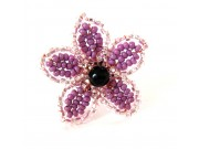 beaded daisy ring - plum,silvery pink, onyx