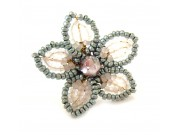 beaded daisy ring - mint green, snow white, pink