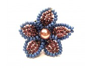 beaded daisy ring - grape, grey, pink