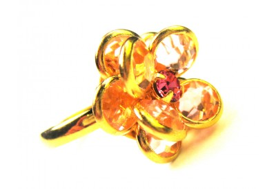 bezel-set crystal blossom ring - jonquil, gold band