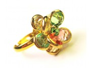 bezel-set crystal blossom ring - multi-colour, gold band