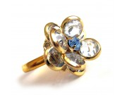 bezel-set crystal blossom ring - periwinkle blue, gold band