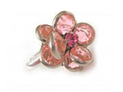 bezel-set crystal blossom ring - pale pink, silver band