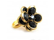 bezel-set crystal blossom ring - black, gold band