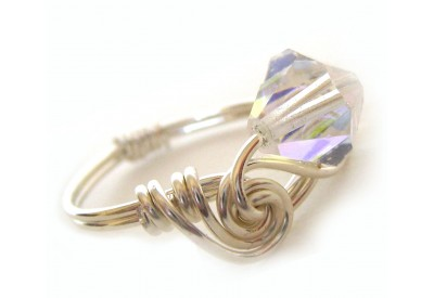 ice cream swirl ring - clear swarovski bicone crystal