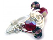 ice cream swirl ring - ruby crystal, deep amethyst druc