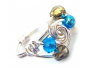 ice cream swirl ring - blue and gold aluminum crystal