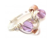 ice cream swirl ring - lavender glass and clear blush