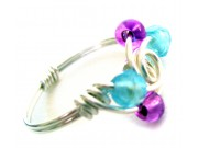 ice cream swirl ring - light blue crystal, grape druc