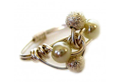 ice cream swirl ring - silver ball, white pearl