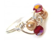 ice cream swirl ring - ruby crystal, cream pearl