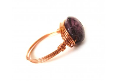 single stone ring - amethyst, copper