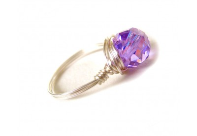 single stone ring - violet swarovski crystal, silver band