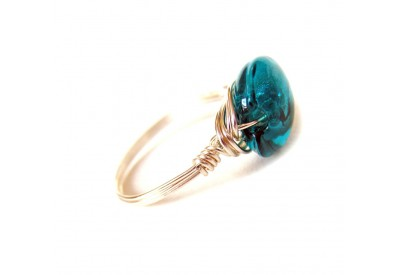 single stone ring - teal, silver