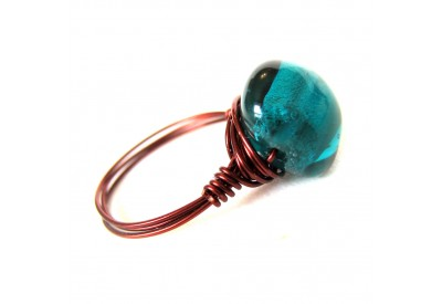 single stone ring - teal, burnt copper band