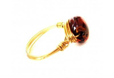 single stone ring - brown, gold